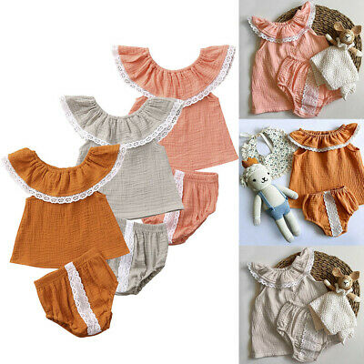 Toddler Infant Baby Girls Off Shoulder Solid Print Lace Tops+Shorts Outfits Sets