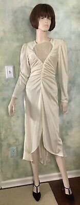 Vintage 80's Cream White Satin Cocktail Evening Gown Dress by Lerner