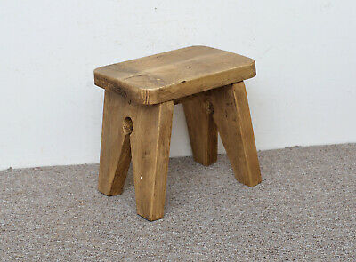 wooden milking stool with nice wax finish - FREE POSTAGE