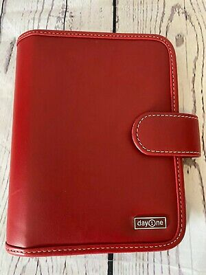 "Franklin Covey Day One Small Red Planner Binder. 7.5""x6"" Excellent Condition"