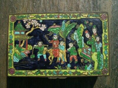 Antique Chinese Hand Enameled Pictorial Scene Brass Box With Fitted Interior