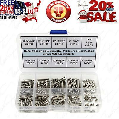 HVAZI #2-56 UNC Stainless Steel Phillips Pan Head Machine Screws Nuts Assortment