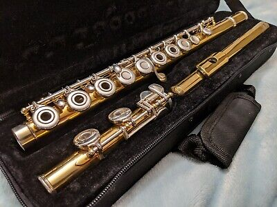 Armstrong Emeritus Flute All Solid Silver Open Hole 24K Gold Plated Plays Great