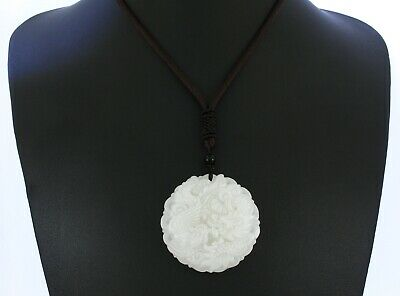"1.9"" China Certified Nature Afghan White Jade Luck Dragon and Phoenix Necklace"