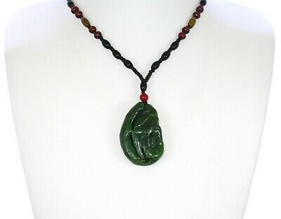 "1.9"" China Certified Nature Hetian Nephrite Green Jade Bat and Bamboo Necklace"