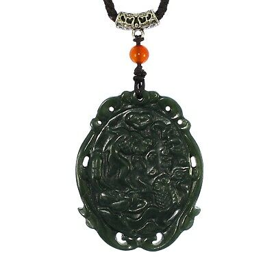 "2"" China Certified Nature Hetian Nephrite Jade Treasures Fill the Home Pendants"