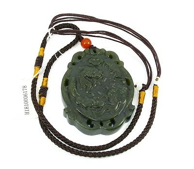 "2"" China Certified Nature Hetian Nephrite Jade Treasures Fill the Home Necklace"