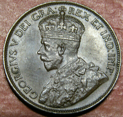 1915 CANADA LARGE CENT KM# 21 - CHOCOLATE BROWN TONED - ** shipping included **