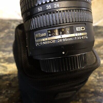 Excellent Nikon 24-85mm f/3.5-4.5G SWM ED IF Aspherical AF-S NIKKOR Lens + Case