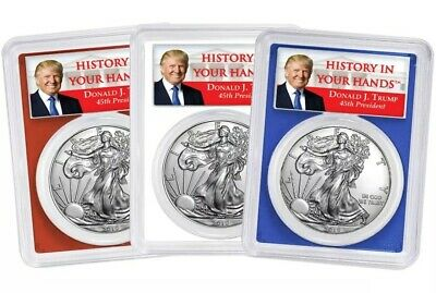 2019 $1 American Silver Eagle 3pc. Set PCGS MS70 FDOI Trump Label Red White Blue