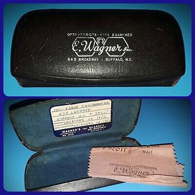 Vintage 1952 Case & Cleaning Cloth Lot Optometrists Eye Glasses Doctor Buffalo