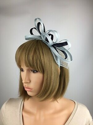 Pale Blue and Navy Light Blue Fascinator Wedding Occasion Hatinator Races Hat