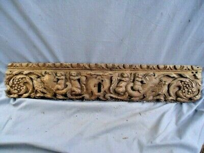 Rare 17Th  Century Oak  Carved Rail With Mythical Cherubs Ridding Sea Horses