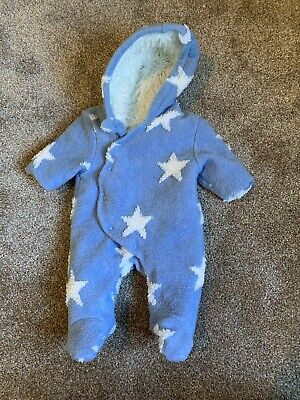 Next Baby Boys Blue Star Snowsuit Pramsuit Age Up To 1 Month