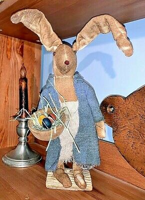 Primitive Bunny with Wood Bowl / Easter Eggs Spring Folk Art /Collectable Signed