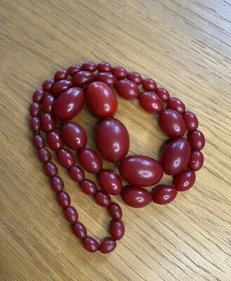 Large Antique Art Deco Bakelite Cherry Amber Bead Necklace