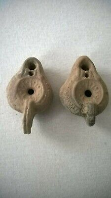 Nice interesting 2 old terrekota oil lamps length about 65 mm