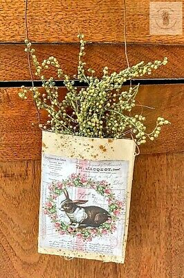 Primitive Grubby WREATH BUNNY Herb Pouch Hanger Spring Sweet Annie Homestead