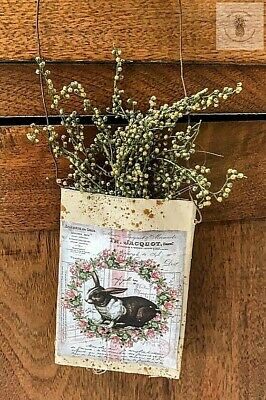 Primitive Grubby b/w  Bunny Herb Pouch Hanger Spring Sweet Annie Homestead