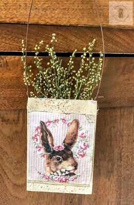 Primitive Grubby  Bunny Head Herb Pouch Hanger Spring Sweet Annie Homestead