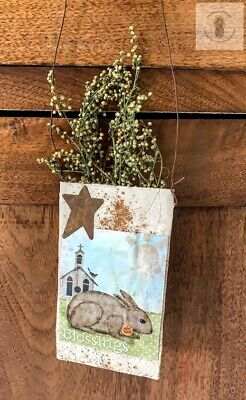 Primitive Grubby  BLESSING EASTER Herb Pouch Hanger Spring Sweet Annie Homestead