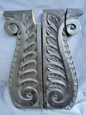 Two  19Th  Century Oak  Carved Scrolling  Rails