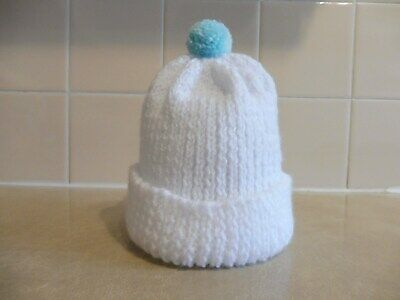 Smaller Baby Or Prem. White Hat With Bluey/Green Bobble
