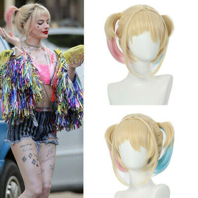 Harley Quinn Wig Birds of Prey Cosplay Girls Pink & Blue Hair Gradient Ponytail