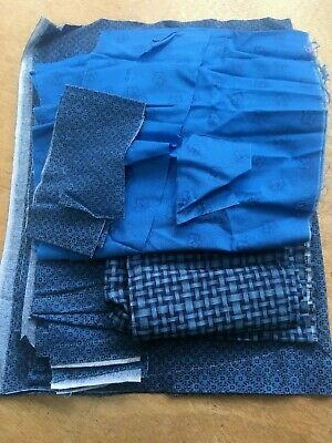 Blues 100% Cotton Patchwork bundle job lot crafts fabric remnant