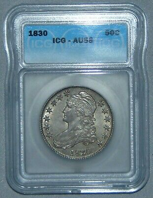 1830 Capped Bust Silver Half Dollar Large 0 ~ ICG AU58 - NICE!