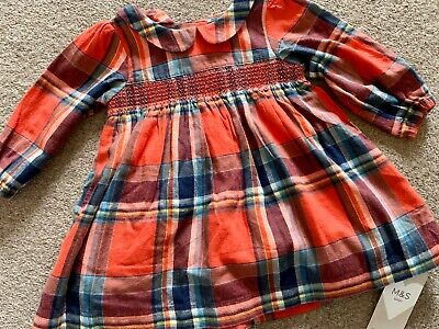 Baby Girl Tartan Dress 3-6 Months Marks And Spencer Red Checked Brand New