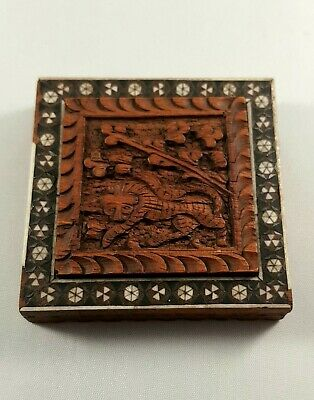 Antique Indian Hand Carved Wooden Box With Micro Mosaic Mother Of Pearl Inlay