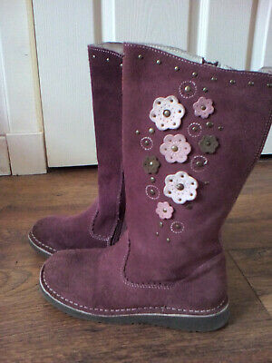 Zara Girl Purple Suede Zip Fastening Winter Boots