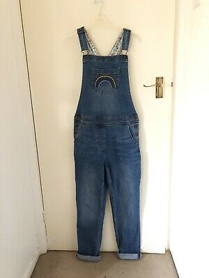 Mini Boden Girls Blue Denim Dungarees With Floral Lining Age 13/14