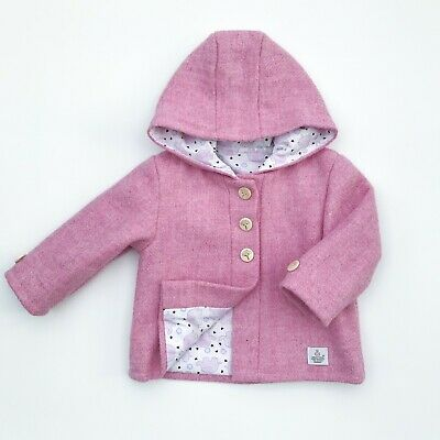 Harris Tweed Children's Baby Pink Handmade Coat  Age 2 years Unisex boy girl new