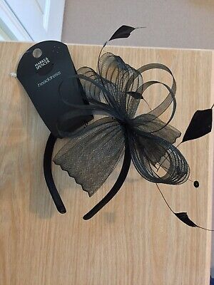 Brand New Marks And Spencer Wedding Black Feather Fascinator Hairband Headpiece