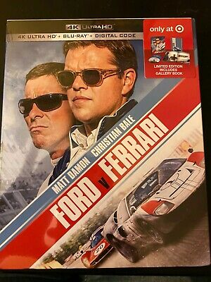 NEW FORD V FERRARI 4K ULTRA HD BLU RAY 2 DISC TARGET EXCLUSIVE+ Book No Digital