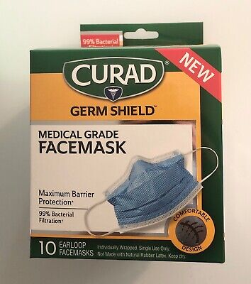 New Curad Face Mask - ASTM Level 3 - 99% Bacterial flu virus protection  - 10ct