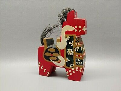 Vintage wooden carved chinese horse statue handpainted folk art 6""