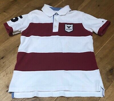 Boys Genuine Tommy Hilfiger Striped Polo Shirt Size Uk S Age 6-7 Years