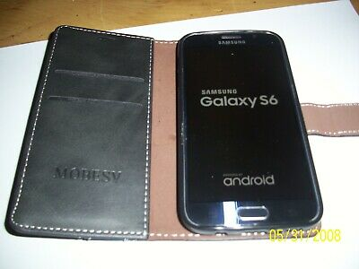 Samsung Galaxy S6 Android Phone, black, unlocked, with charger, leads & new case