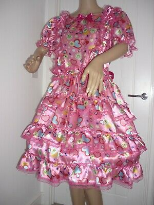 """Sissy Heart Silky Satin & Lace Frilly Dress Bust 46"""" Adult Baby Lola Cosplay"""