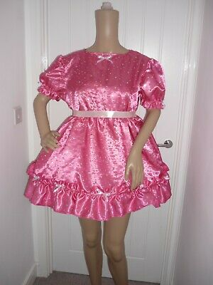 Short Sissy Pink Sparkle Satin Frilly Dress & Panties  Adult Baby Lola Cosplay