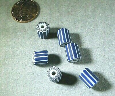African Trade Beads Venetian Blue Chevron Cane 6 Layer 6pc set 8x10mm Approx