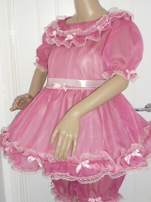Short Sissy Pink See Through Voile Frilly Dress & Panties  Adult Baby Cosplay