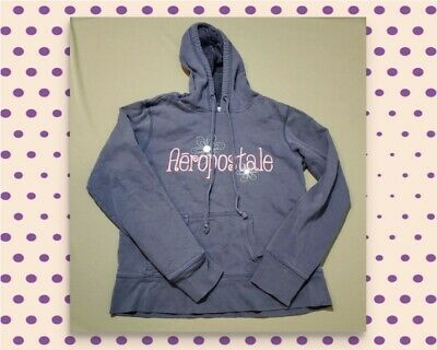 Aeropostale girls Small 6/7 grey pullover hoodie jacket, pink floral embroidered