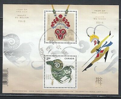 Canada Souvenir Sheet Used, Year of the Monkey, Ram Crossover Chinese New Year!