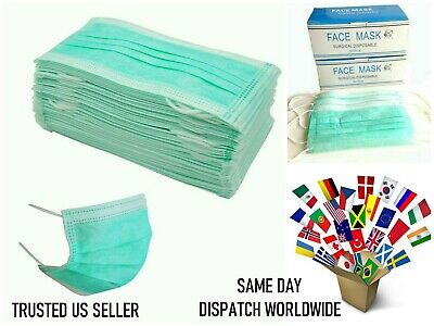 50 PIECES GREEN Disposable 3-Ply Medical Surgical Dental Anti-Dust Face Masks