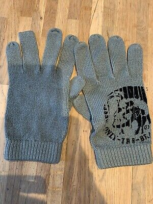 Diesel Mens Grey Gloves