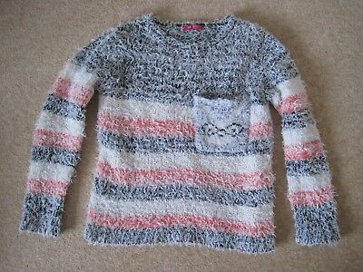 YD Primark pink, white and black jumper with rabbit motif - 8-9 years - GC